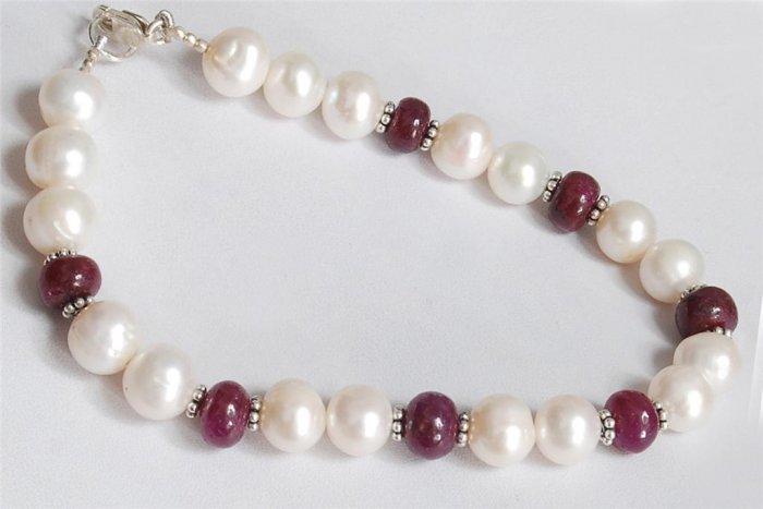 Designer pearl & Ruby Gemstone & silver Bead Bracelet