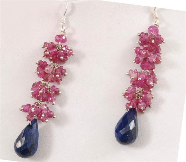 Designer Ruby & Sapphire Drop Earring With Silver Beads