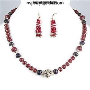 Natural Green Emerald & Red Ruby Gemstone Necklace
