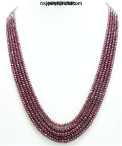 Designer Natural Red Ruby Gemstone Beads Necklace
