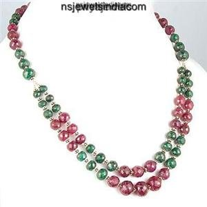 Natural Green Emerald & Red Ruby Gemstone bead Necklace