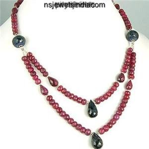 Blue Sapphire & Red Ruby Natural Gemstone Bead Necklace