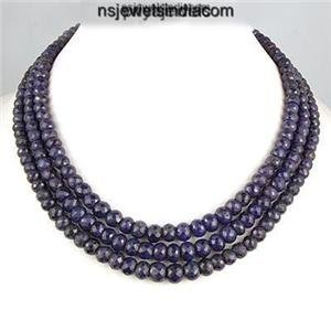 3strand Blue Sapphire natural beads Gemstone Necklace