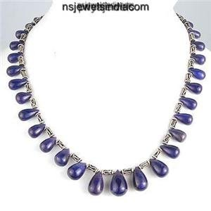 Designer Blue Sapphire natural Drop Gemstone Necklace