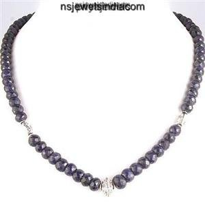 Handcrafted Natural Sapphire Gemstone & Silver Necklace