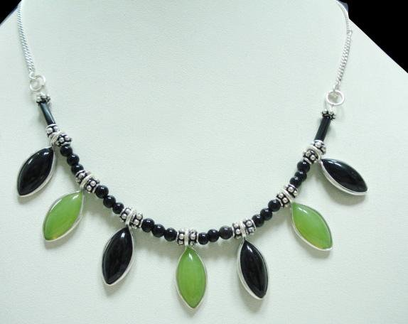 26.98Gms Handcrafted jade Gemstone & Silver Necklace