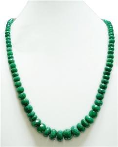 Single Strand Natural Cuting Emerald Gemstone Necklace