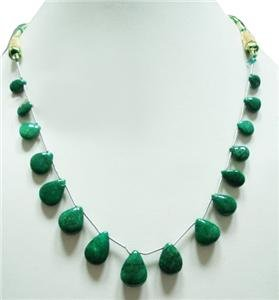 Designer Natural green Emerald Gemstone Drop Necklace