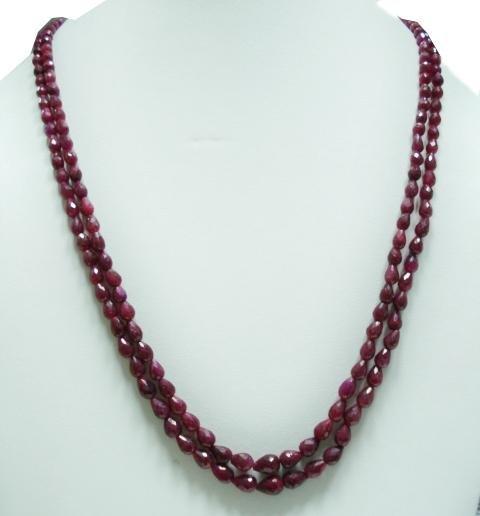 2Strand Natural Cuting Ruby Gemstone Necklace drop