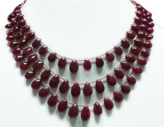 Handmade  Natural Cabochon Ruby Gemstone Necklace drop
