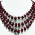 Handmade  Natural Cabochon Ruby Gemstone Necklace drop