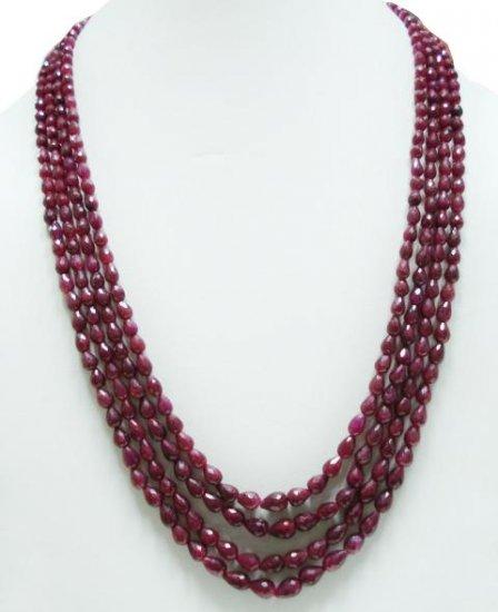 4Strand Natural Cuting Ruby Gemstone Necklace drop