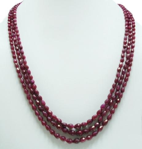 3Strand Natural Cuting Ruby Gemstone Necklace drop