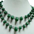 2strand Natural Green Emerald Gemstone necklace Drop