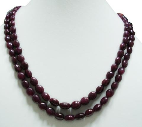 2strand Natural Cabochon Ruby Gemstone Necklace Beads