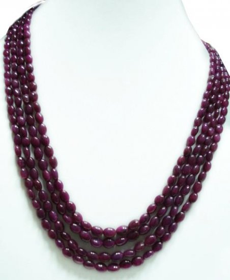 4 Strand Natural Cabochon Ruby Gemstone Necklace Beads