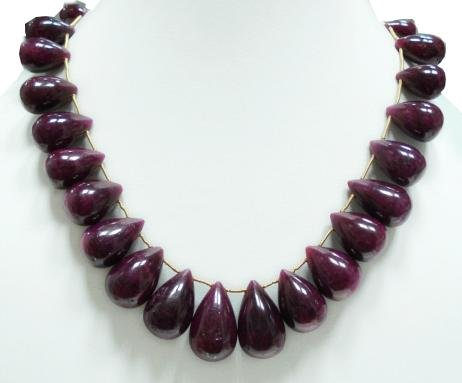Stunning Natural Cabochon Ruby Gemstone Necklace Drop