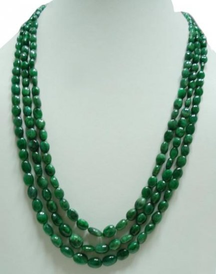 Natural Cabochon Emerald Gemstone Necklace Beads