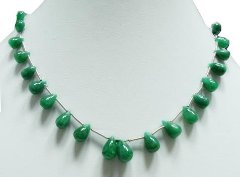 single strand Natural Emerald Gemstone necklace Drop