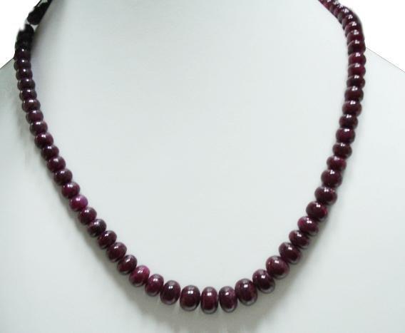 Single Strand Natural Cabochon Ruby Gemstone Necklace