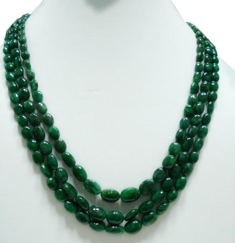 Handcrafted Natural  Emerald Gemstone Necklace Beads