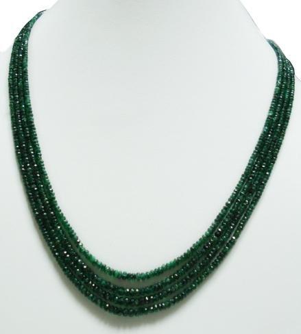 4strand Natural Colombiam Emerald Gemstone neckalce
