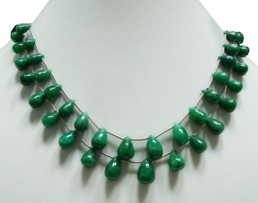 Handcrafted Natural Green Emerald Gemstone string Drop