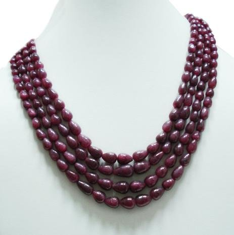 4Strand Stunning Natural Ruby Gemstone Neckalce Drop