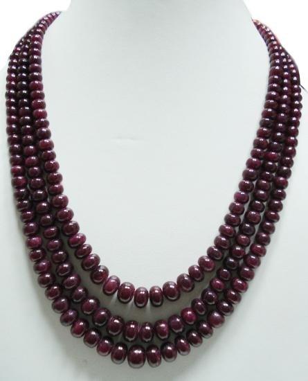 3strand Natural Cabochon Ruby Gemstone String Beads