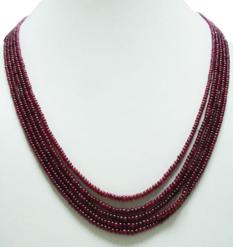 5Strand Stunning Natural Cabochon Ruby Beads Necklace