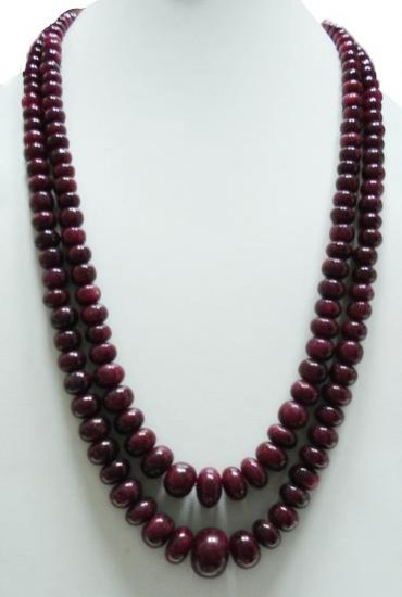 2strand Natural Indian Ruby Gemstone Beads Neckalce
