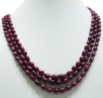3Strand Stunning Natural Ruby Gemstone Neckalce Drop