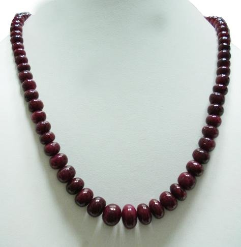 Indian Natural Ruby Cabochon Gemstone Beads Necklace