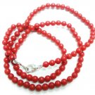 Handmade Natural Coral Gemstone Beads Necklace 4mm