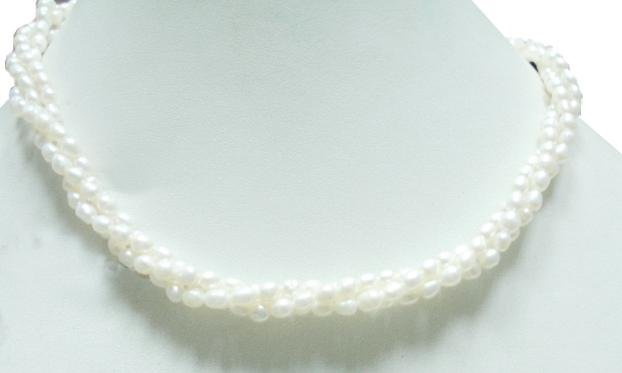 3Strand Fresh Water Pearl Gemstone Necklace 4mm