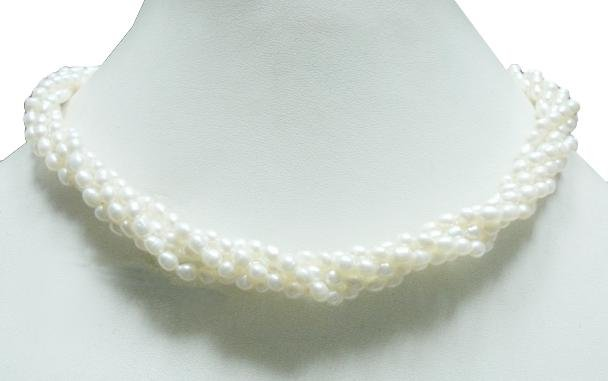 5Strand Fresh Water Pearl Gemstone Necklace 4mm
