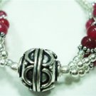 15.98gms Handcrafted German Silver & Jade Bracelet