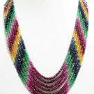 7 line Ruby Sapphire colombian Emerald Beaded Necklace