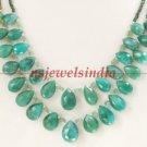 designer natural emerald gemstone with silver necklace