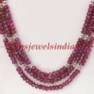 3 strand natural ruby gemstone & silver necklace