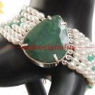 Natural fresh water pearl & emerald gemstone bracelet