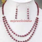 Handcrafted natural ruby gemstone & silver necklace