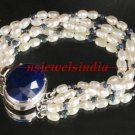 Pearl & sapphire beads gemstone with silver bracelet