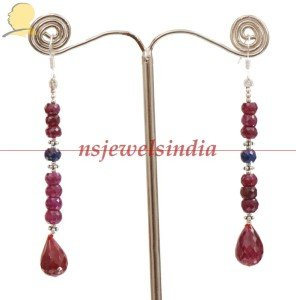 Ruby & sapphire drop gemstone with silver earring