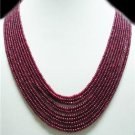 11 Strand Stunning Natural Cabochon Ruby Beads Necklace