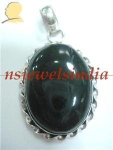 15.60gms Handmade natural onyx gemstone silver pendant