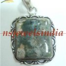 14.21gms Handcrafted agate gemstone silver pendant