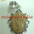 8.43gms Handcrafted agate gemstone & silver pendant