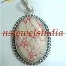 13.36gms Designer Natural agate gemstone silver pendant
