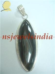 19.50gms Handcrafted onyx gemstone silver pendant